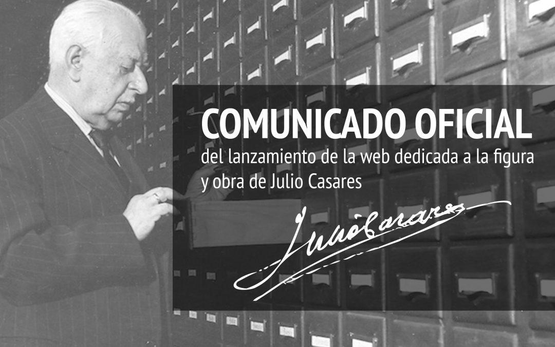 Comunicado de lanzamiento de la web oficial Julio Casares