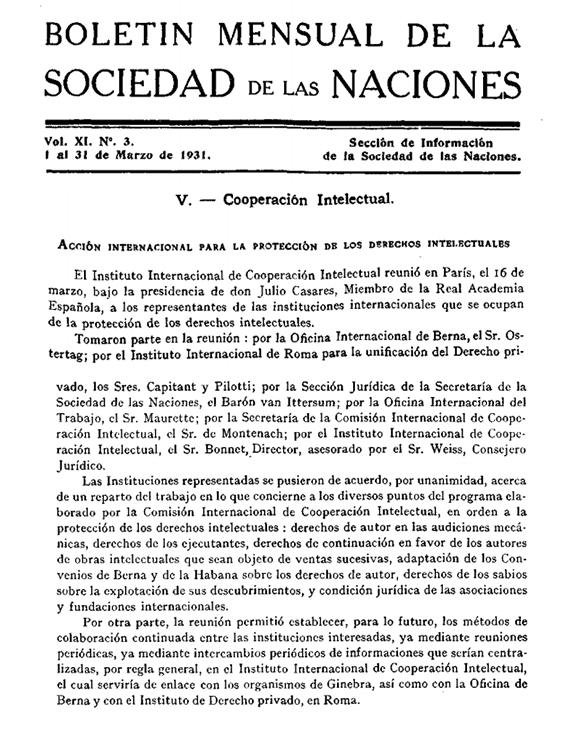 BOLETÍN MENSUAL DE LA SOCIEDAD DÉLAS NACIONES - Julio Casares